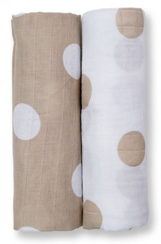 Pack 2 Langes Mousseline Taupe